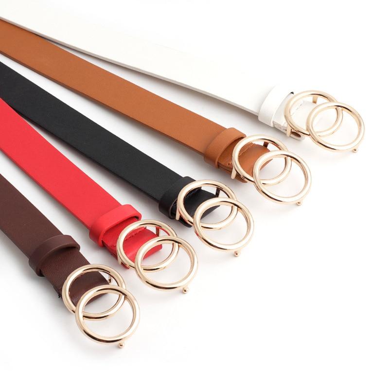Clearance SaleNew Wide Black Red White Brown Leather Waist Belt Ceinture Femme Woman Double O Ring Belts for Women Dress Cinturones Para Mujer