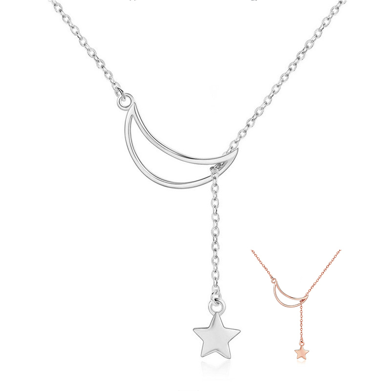 BAMOER New Arrival Fashion 925 Sterling Silver Moon and Star Tales Chain Link Pendant Necklaces for Women Fine Jewelry SCN108