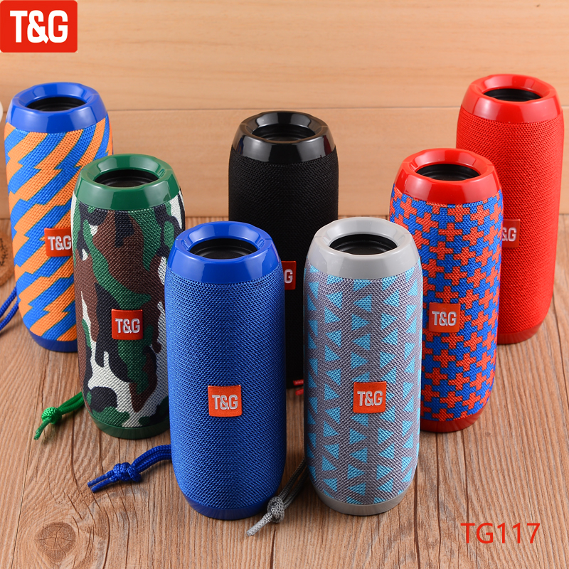 T&G TG117 Portable Bluetooth Speaker Wireless Bass Column Waterproof Outdoor USB Speakers Support TF Card Subwoofer Loudspeaker