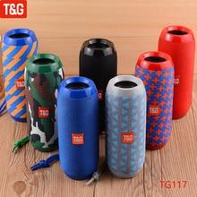 T&G TG117 Portable Bluetooth Speaker Wireless Bass Column Waterproof Outdoor USB Speakers Support TF Card Subwoofer Loudspeaker