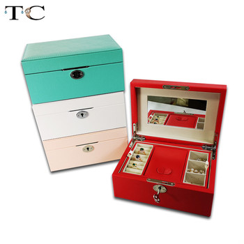 4 Color Jewelry Storage Box with Key Leather Jewelry Box Multi-Layer Large-Capacity Jewelry Organizer Case with mirror