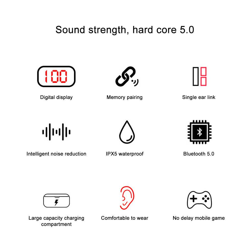 5.0 Bluetooth イヤホン TWS ワイヤレスイヤホン 3D 低音ステレオヘッドフォン Led ディスプレイヘッドセット 2000 Mah 充電ボックスとマイク