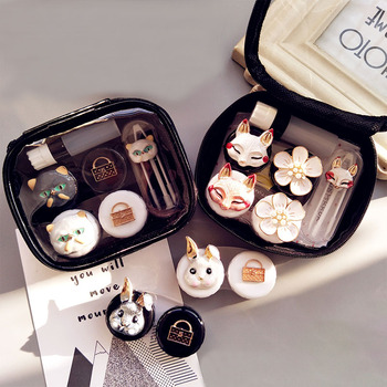 Lovely Handmade Contact Lens Case Set With Mirror Travel Lenses Box Eye Contact Lens Box 2Pairs Container For Women luxury roundness contact lens case color water eye lens box popular travel lens case contact with mirror