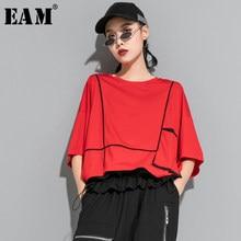 [EAM] T-shirt da donna di grandi dimensioni con tasca divisa rossa nuova girocollo manica a tre quarti moda marea primavera estate 2021 1U622