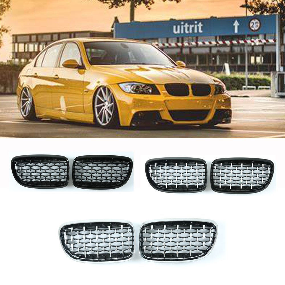 Front Grill Kidney Grille for BMW 3 Series E90 E91 Sport Diamond Grilles Front Bumper 2005-2011