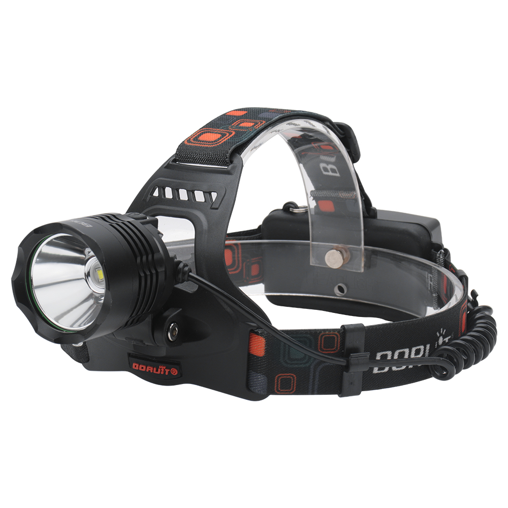 BORUiT RJ-2158 XM-L2 LED Headlamp Power Bank 5Mode Powerful Headlight 18650 Head Torch For Camping Hunting Waterproof Flashlight