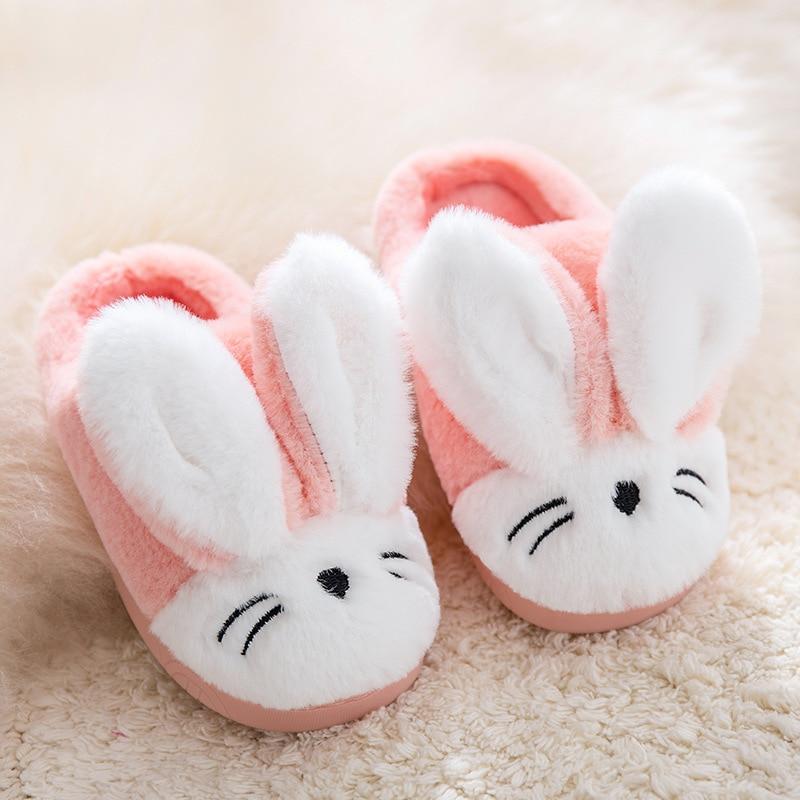 Winter Children Slippers For Girls Cotton Shoes Plush Boys Flip Flops Cartoon Rabbits Warm Home Slippers Indoor Kids Floor Shoes