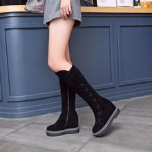 Большие размеры 9, 10, 11, 12, сапоги женские зимние сапоги женская обувь botas простые сапоги с круглым носком и кисточками