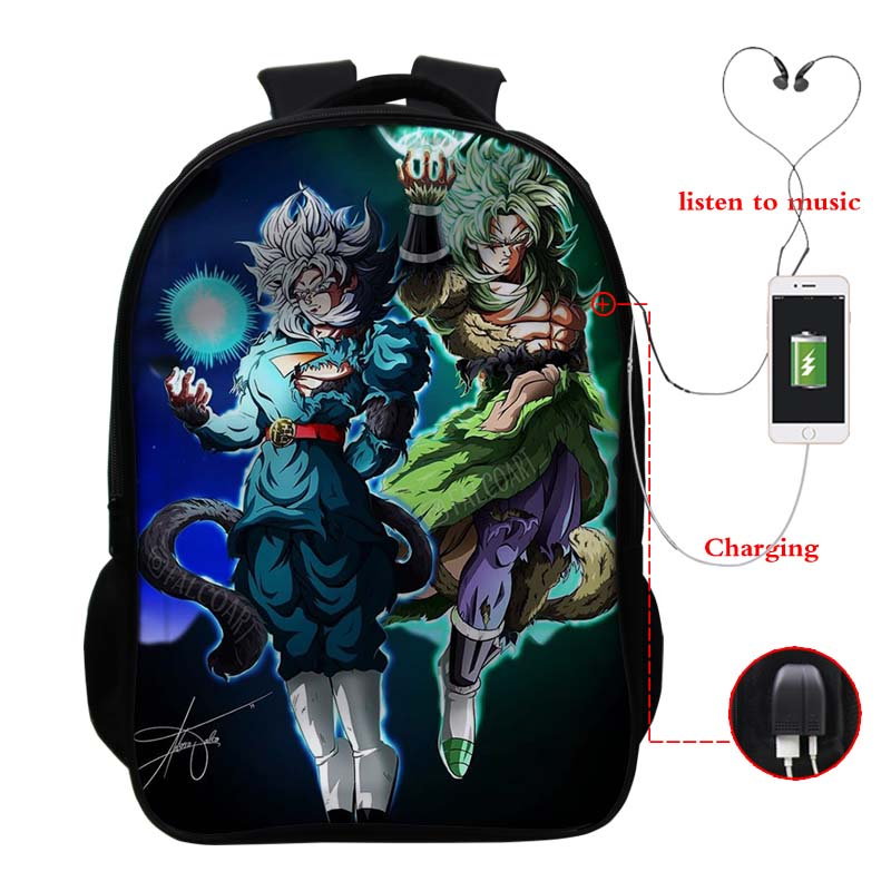 Dragon Ball Usb Carica Zaino Goku Bookbag Zaino Unisex  3