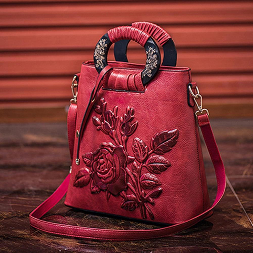 Women torebka damska Chinese Floral Print Ring Handle Shoulder Bag Faux Leather Handbag Pouch мужская сумка