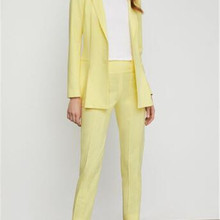Yellow Spring Autumn Single Breasted Lady Women Suit Set Sli
