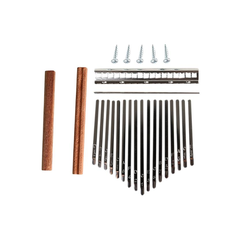 17-Key Kalimba DIY Set Wood Bridge Shrapnel Durable Thumb Piano Steel Key Lettering Keyboard Musical Instrument Accessory