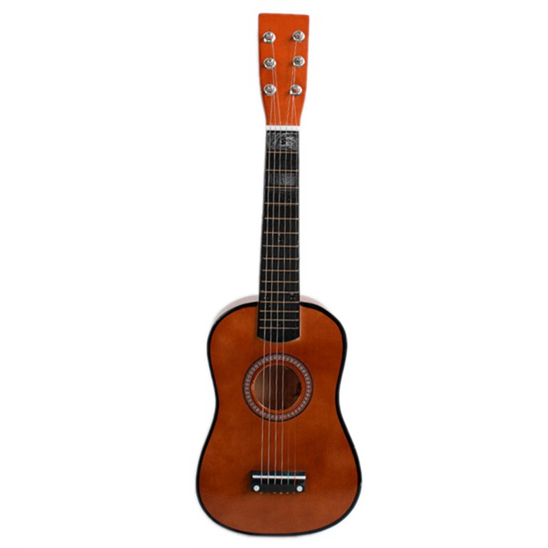 23inch Guitar Mini Guitar Basswood Kid's Musical Toy Acoustic Stringed Instrument With Plectrum 1st String Coffee