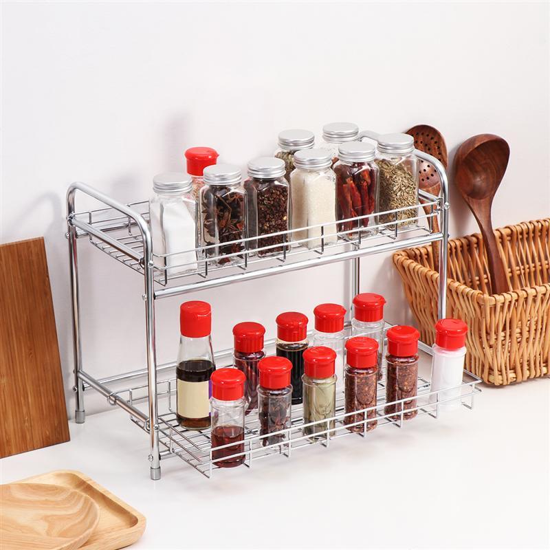 BESTONZON 2 niveaux cuisine épices étagère de rangement comptoir cuisine rangement organisateur étagère support pour bocaux bouteille 40x30x19.5cm