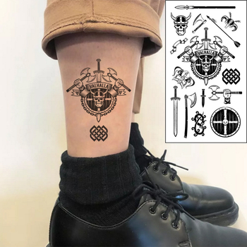 Waterproof Temporary Tattoo Sticker Skull Warrior Totem Dragon Ax Sword Letter Valhalla Flash Tatoo Fake Tatto for Men Women image