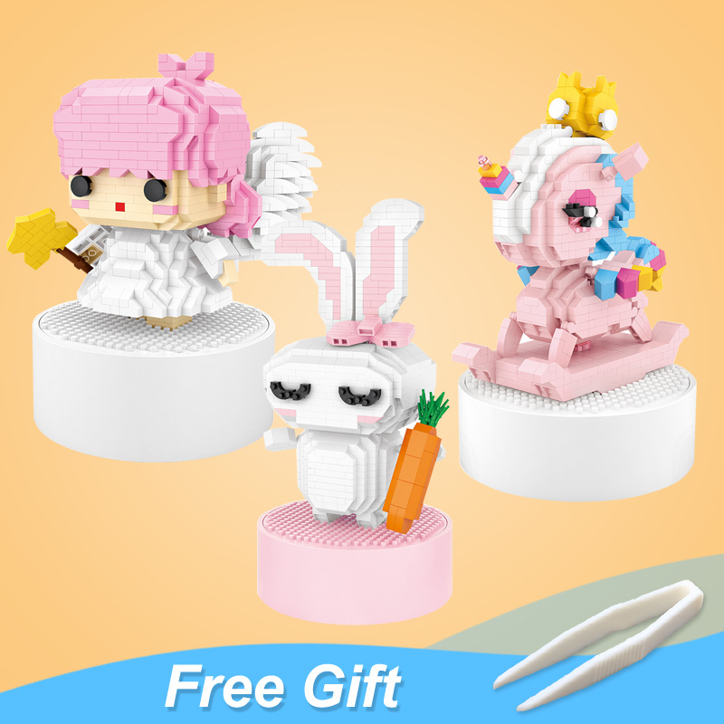 LOZ Stereo Music Box Mini Building Blocks Unicorn Love Rabbit And Little Twin Stars Assembled Toys Puzzle Girl Friend Gift