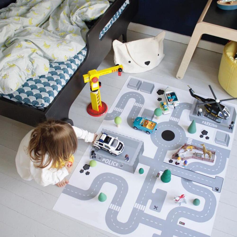 Tapis de jeu de voiture tapis de jeu en taffetas autoroute carte enfants Portable voiture ville scène tapis de jeu jouets éducatifs pour enfants bébé tapis de jeu