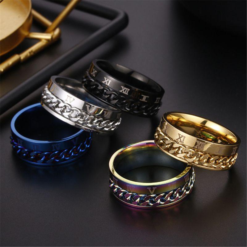 EDC Finger Fidget Spinner Stainless Steel Chain Rotatable Ring Men Classical Rome Digital Power Sense Gift  Y51E