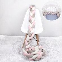 1m/2m/3m/4m cama do bebê amortecedor trança nó longo feito à mão tecelagem de pelúcia protetor de berço infantil nó travesseiro decoração da sala
