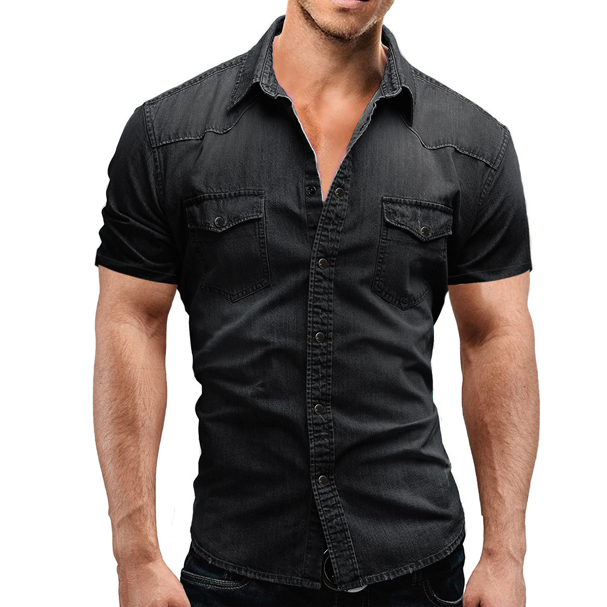 Men's Regular-fit Long-Sleeve Denim Work Shirt Two Button Front Chest Pockets & Pencil Slot Rugged Wear Thin Casual Cotton Shirts 3