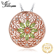 JPalace Natural Peridot Pendant Necklace 925 Sterling Silver Rose Gold Gemstones Choker Statement Women Without Chain