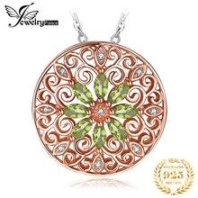 JPalace collier pendentif péridot naturel 925 argent Sterling pierres précieuses en or Rose collier ras du cou déclaration femme