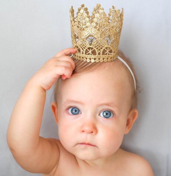 Золотая кружевная 3d-корона Yundfly, повязка на голову для новорожденных девочек, эластичная тиара на голову, подарок на день рождения, реквизит ...