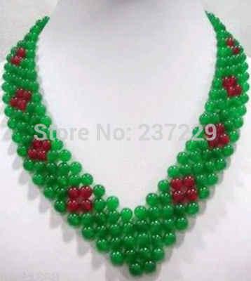 Vente en gros XSZ2018 HH # # beau collier de perles de Jade vert fait main