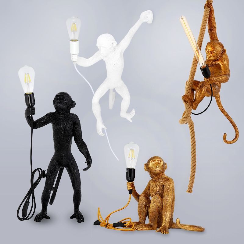 Resin Monkey Lamp Modern Hemp Rope Pendant Lights American Country Loft Industrial Hanging Lamp Luminaire Home Decor Fixtures