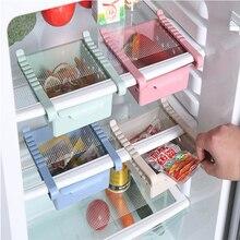 Refrigerator Storage Rack Kitchen Organizer Adjustable Fridge Freezer Shelf Holder Pull out Drawer Organiser Space Saver