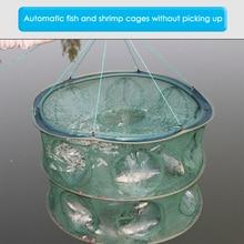 2 Layers 8 Holes Fishing Net Automatic Folding Fish Shrimp Mesh Crab Cage Fishing Tackle
