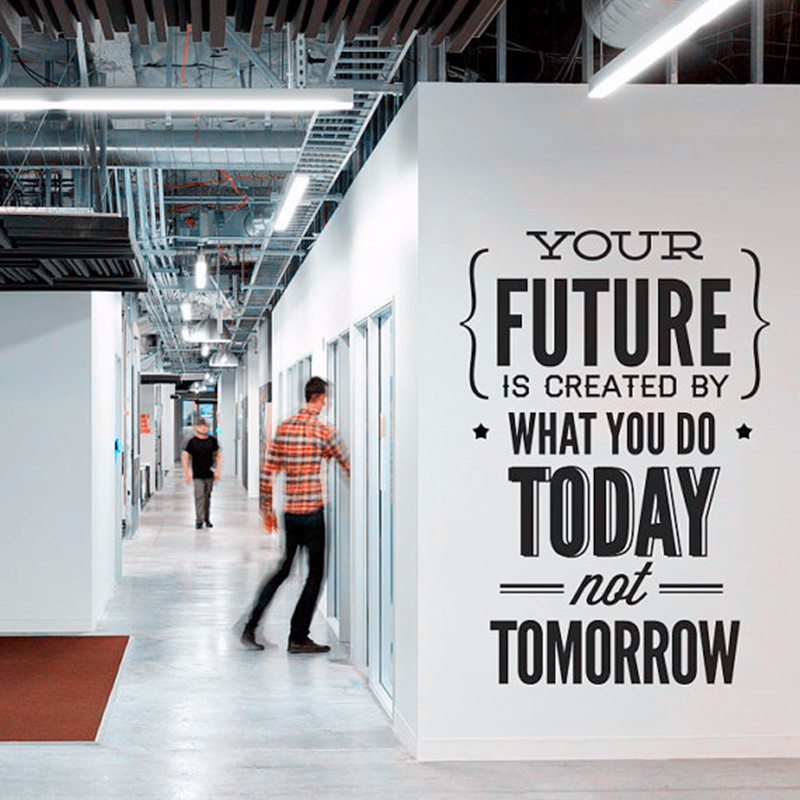 Inspirational Work Quote Wall Sticker Your Future is Created by What you do Today Saying Vinyl Wall Decals Office Decor AC634 image