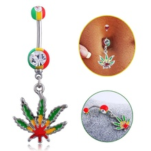 1pc 14g Hemp leaf pendant navel ring stainless steel Rhinestone belly body jewelry Belly Button Charm Decoration