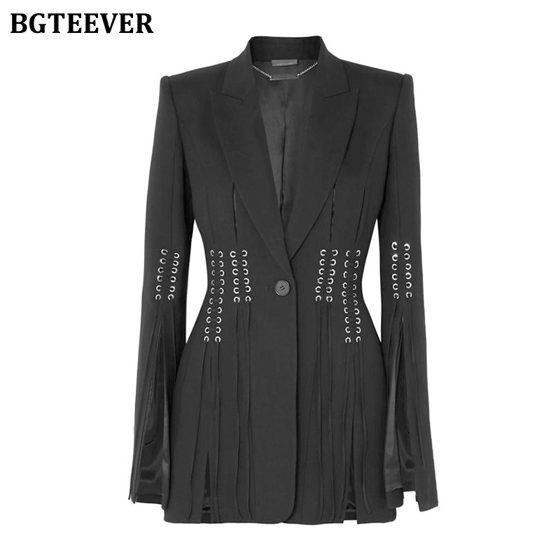 BGTEEVER Fashion Slim Waist Women Blazer Lapel Long Sleeve Button Bandage Split Black Female Suit Jacket 2020 Spring Outwear