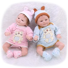 Twin rebirth doll True smile boy and girl Baby Doll 45cm 3/4 Silicone simulation Child education props Gift Toy bebe Reborn