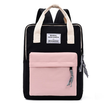Teen School Bags for Girls Teenage Canvas Women Backpack School Casual Preppy Style Lightweight Student Bookbags 2020 Patchwork casual vintage canvas backpack for women unique drawstring flap bags preppy style rucksacks for girls black button school bags
