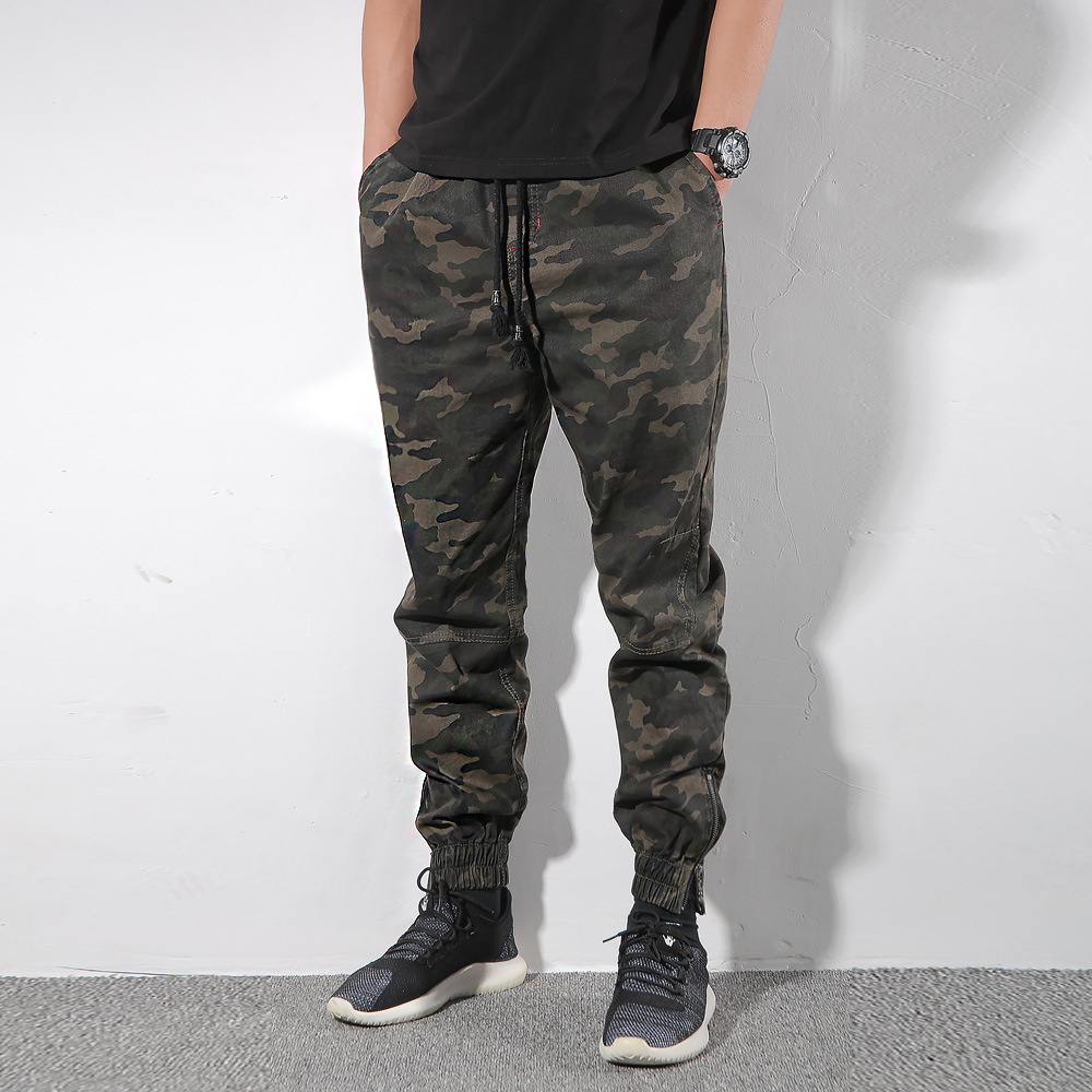 JOGGER Pants Enshadower Camouflage Pants Elastic Waist Korean-style Men's Camouflage Trousers Scholar Casual Pants Zipper Beam L