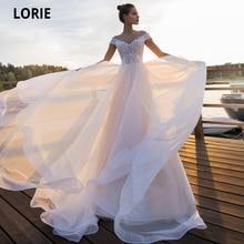 LORIE vestidos de novia Bohemia 2020 hombro Rosa Luz playa novia vestido de tul para bodas Vintage de talla grande de