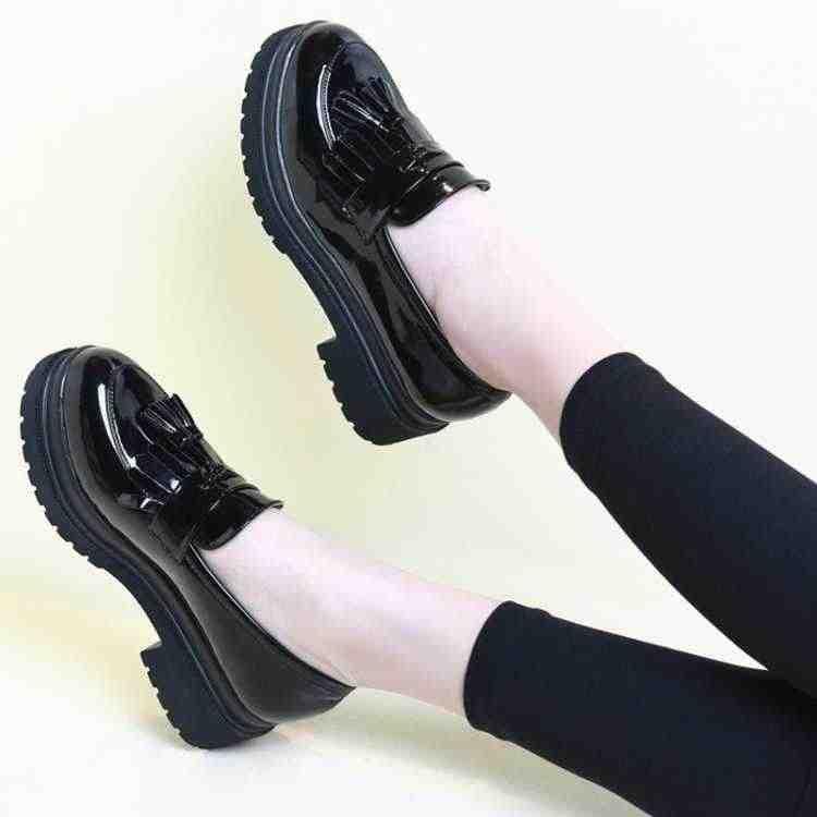Mới Đáy Dày Giày Đế Người Phụ Nữ Viền Tua Rua Oxfords Nữ Giày Nữ Giày Đi Dạo Nữ Đế Bằng Sáng Chế Da Trượt Trên Nữ