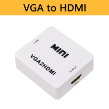 Vga Naar Hdmi Converter Audio Adapter Connector VGA2HDMI Met 3.5 Mm Jack 1080 P Voor Pc Laptop Naar Hdtv Projector mini Size Doos(China)
