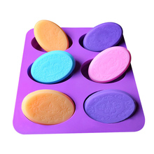6 Cavities DIY Handmade Craft Oval Rectangular Shape Soap Mold Soap Making Cake Decorating Tools Silicone Cake Fondant Mould 6 cavities 12 1mm bic two color aluminum alloy lipstick mold 6 slots holes waterdrop teardrop shape lipbalm fill mold diy