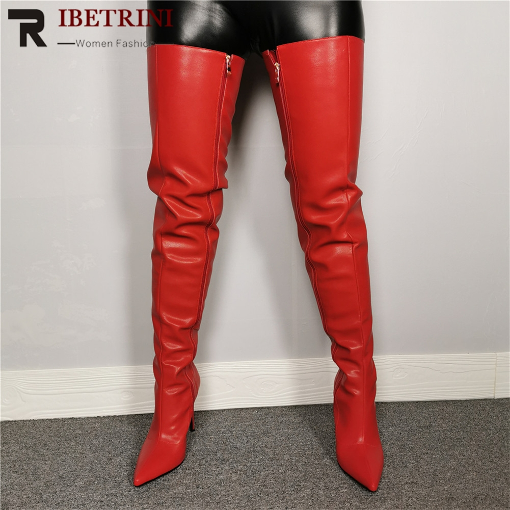 RIBETRINI New 35-47 <font><b>Sexy</b></font> Pointed Toe Over The Knee <font><b>Boots</b></font> Ladies <font><b>Extrem</b></font> Thigh <font><b>High</b></font> <font><b>Boots</b></font> Women 2019 <font><b>High</b></font> <font><b>Heels</b></font> Shoes Woman image