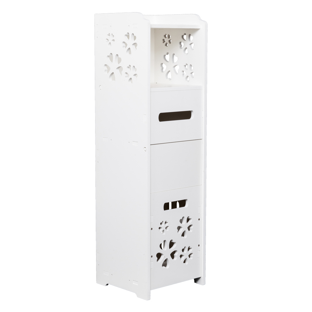 3-tier Bathroom Storage Cabinet With Garbage Can White Bathroom Vanity Floor Standing Locker With Trash Basket 25X25X80CM
