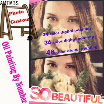 AMTMBS 24/36/48 Colori di Personalità Photo custom painting by numbers Immagine di Disegno Da Colorare Dipinti Da Numeri