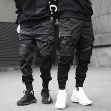 Men Cargo Pants Black Ribbons Block Multi-Pocket 2020 Harem