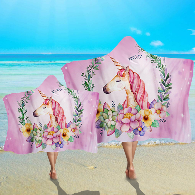 Novelty Wearable Summer Beach Towel With Hat Funny Cartoon Unicorn Pattern Hooded Towel For Adult Kids