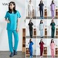 Новая разноцветная однотонная униформа из полиэстера и хлопка для салонов красоты, униформа для ухода, лабораторная униформа, одежда для до...
