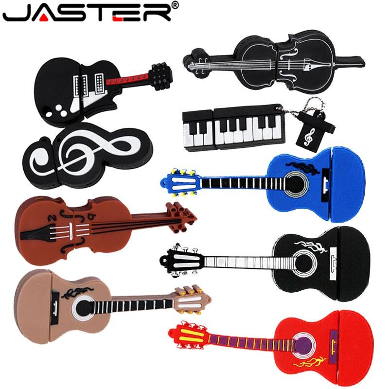 JASTER Cartoon 64GB Cute Musical Instrument Guitar Violin Note USB Flash Drive 4GB 8GB 16GB 32GB Pendrive USB 2.0 Usb Stick