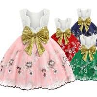 Bambini di estate che coprono le ragazze halter dolce fiore del vestito del ricamo paillettes grande arco capretti del vestito del bambino del merletto del vestito da festa di compleanno