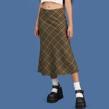 ALLNeon E-girl Plaid High Waist Mermaid Skirts Women Streetwear Cotton Long Skirts Chic Vintage Y2K Style Ladies Bottoms Summer